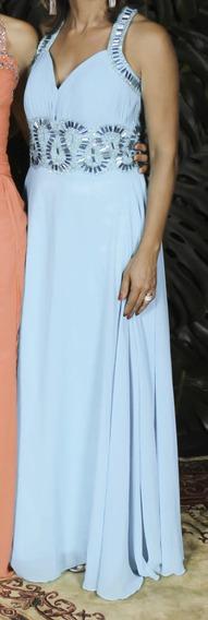 Vestido Longo De Festa Azul, Bordado A Mão