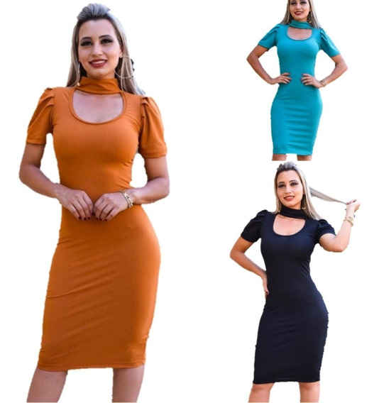 Kit 3 Vestido Longo Feminino C/ Lycra Coloridas Ate O Gg