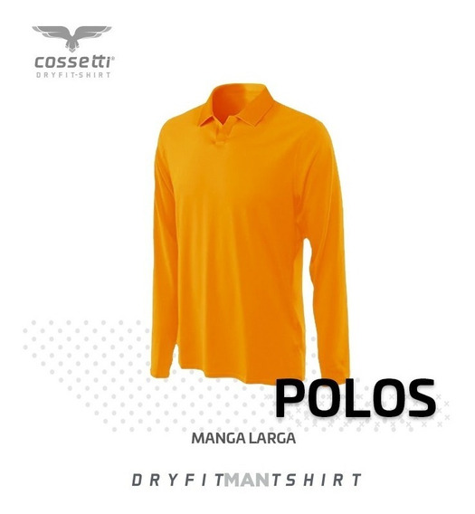 Playera Tipo Polo Cossetti Manga Larga Dry Fit Hombre