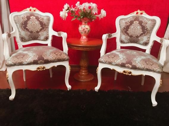 Par De Cadeiras Poltronas Luis Xv Antiga Entalhadas