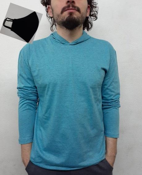 Camiseta Masculina Manga Longa Com Capuz Com Mascara
