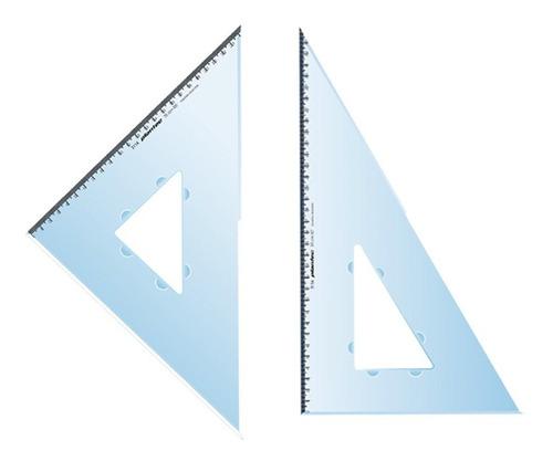 Imagen 1 de 9 de  2 Escuadras De 30 Cm Con 45° Y 60° Doble Bisel Plantec C/mm