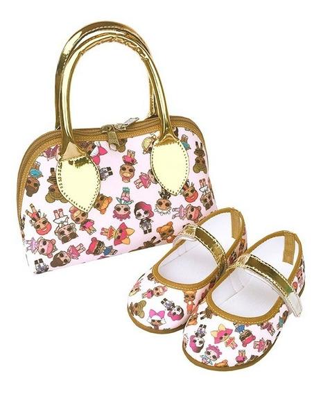 Kit Sapatilha Bolsa Lol Surprise Dourada Boneca Luxo Meninas