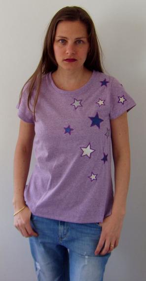 Remera Mujer Bordado Ecocuero Moda / Violette Etoiles