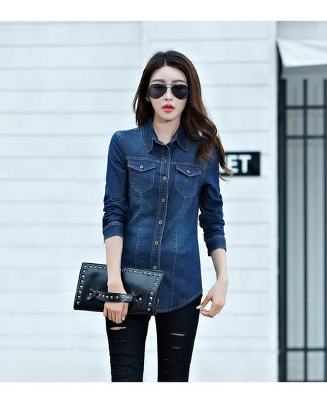Camisa Dama Chambray Jeans Manga Larga