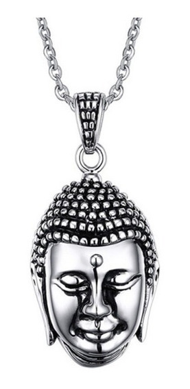 Colar Masculino Cordão Amuleto Pingente Buda Hindu Aço Inox