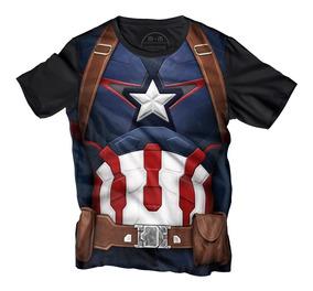 Playera Manga Corta Avengers Armadura Capitán América