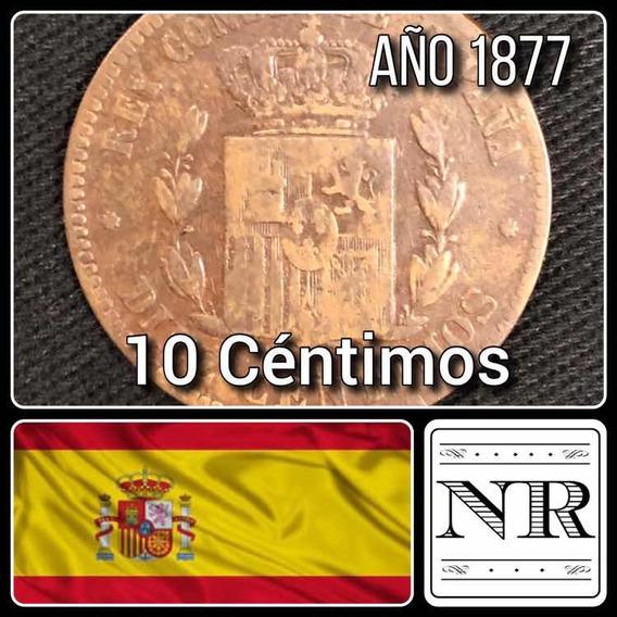 España - 10 Centimos - Año 1877 - Km #675 - Alfonso Xiii