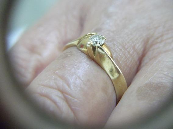 B.antigo - Anel Ouro Amarelo 18 Kt E Brilhante Com 25 Pontos