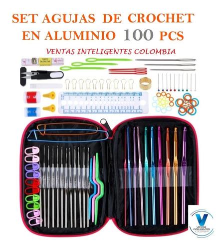 (recomendado) Set Agujas De Crochet  En Aluminio 100 Pcs