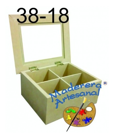 Caja P/te C/vidrio 4 Div 18 X 18 X 8,5 Cm