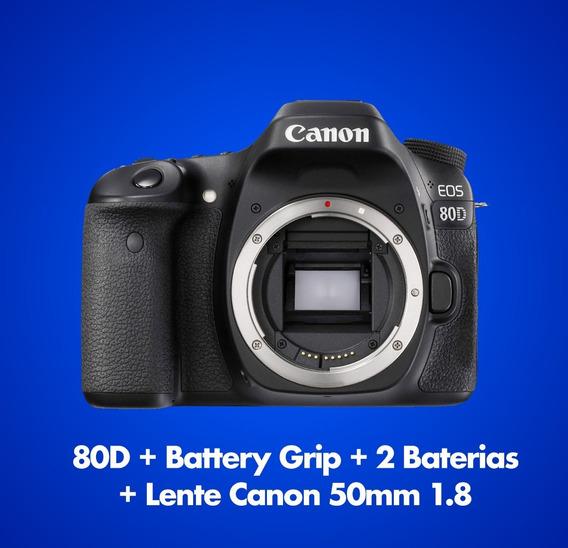 Canon 80d + Battery Grip + Lente 50mm 1.8