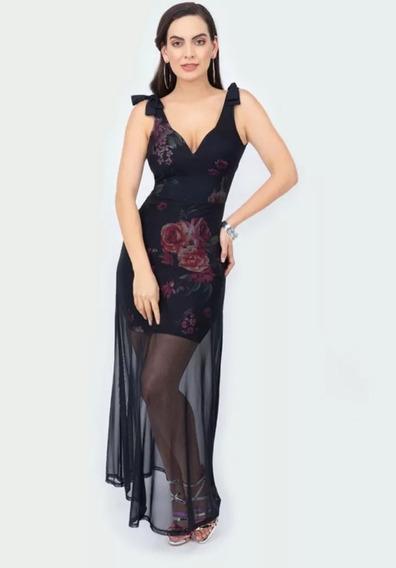 Vestido Maxidress Terra 027-251 Negro Floral Sexy Pv20