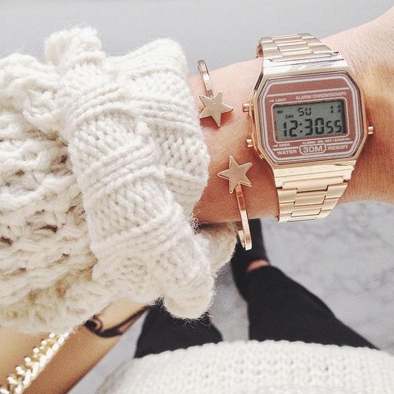 Relógio Clássico Vintage Rose Elegante Unissex