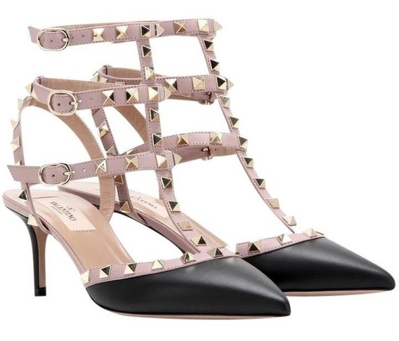 Luxo Sandalia Salto Preto 6,5mm Marca Famosa Pronta Entrega