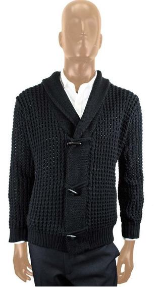 Sweater Cardigan Negro Tejido Jersey - Talla L