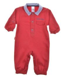 Macacão Para Bebê Longo Suedine Vermelho Para Meninos.
