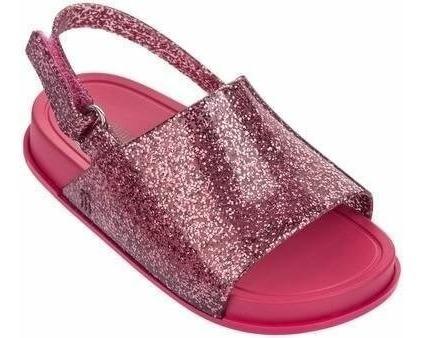 Sandália Mini Melissa Beach Slide Rosa Glitter - Original