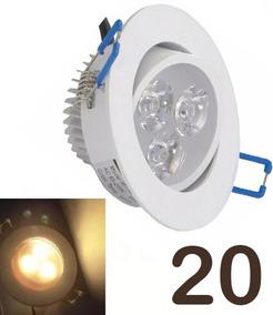 Kit 20 Spot Led Branco Luz Quente Direcionável 5w Teto Gesso