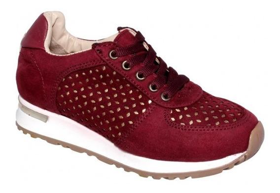 Tenis Para Niña Marca Vivis Shoes Nobuck Vino 6878