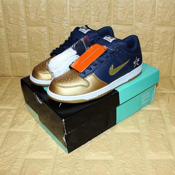 Tênis Nike Sb Supreme Dunk Low Jewel Swoosh Gold Original