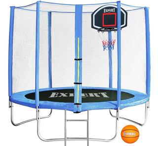 Cama Elástica 2.44 + Escalera + Tablero Basket O Agua El Rey