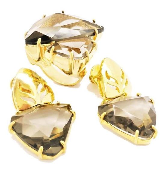 Anel E Brincos Cristal Fumée Banhado De Ouro 18k 386 398