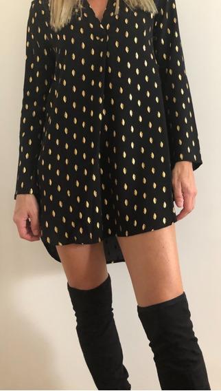 Camisola Blusa De Gasa Negra Con Print Dorado Plumas