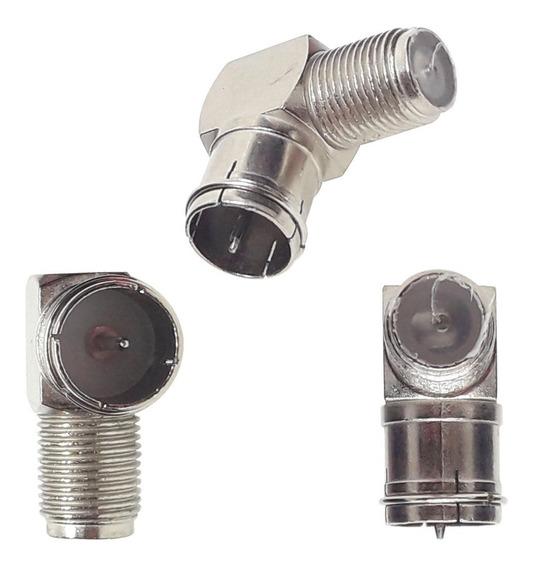 Adaptador Conector F Antena Tv 90 G L Coaxial Engate Rápido