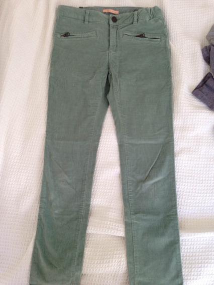 Pantalón Zara Color Verde Tipo Terciopelo