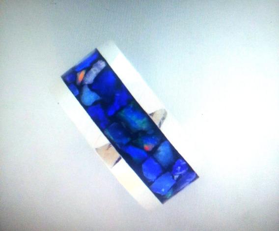 Aliança De Prata 950 Com Opala Mosaico (7mm) Aro 23 Dispo.