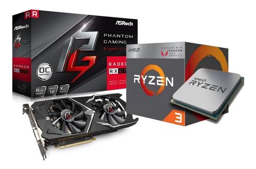 Combo Rx 570 8gb + Ryzen 3 2200g + Fuente Lnz 650w