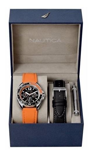 ** Relógio Nautica Sport Orange Box 2 Pulseiras **