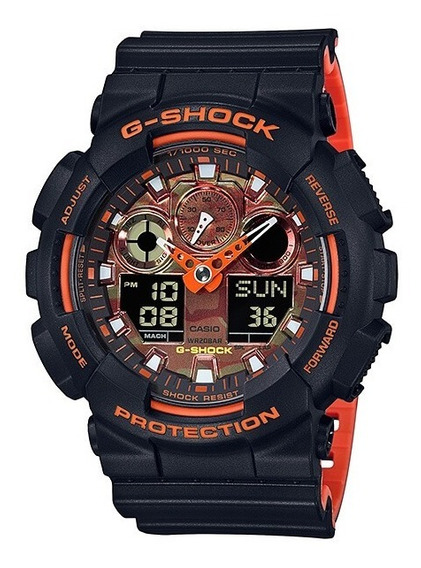 Relógio Casio G-shock Ga-100br-1a Analógico Digital Laranja