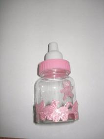 60 Mini Mamadeira Rosa Com Fita Chá De Bebê Lembrancinha