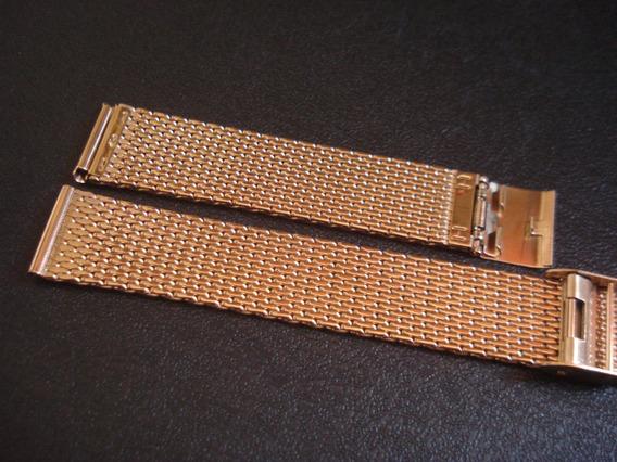 Pulseira Esteira 20 Mm Relógio Folhado Ouro Rosê Reforçada