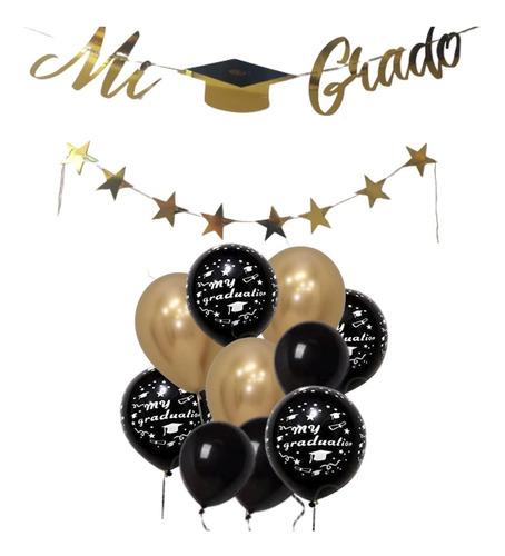 Decoración Grado Dorado  Negro Guirnalda Mi Grado 12 Globos