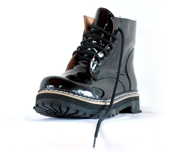 Borcegos Dirty Boots C.baja Charol Doble Mujer Hombre 37al40
