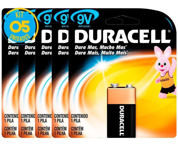 Bateria Alcalina Duracell 9v Original Kit ( 5 Unidades )