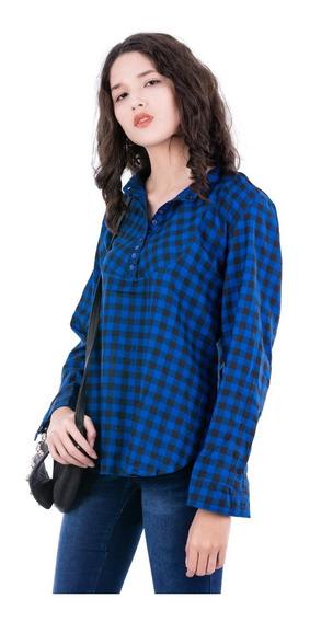 Camisa A Cuadros Azul - Mujer - Blue Air Jeans