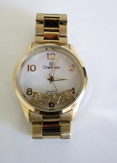 Relógio Feminino Champion Love Dourado