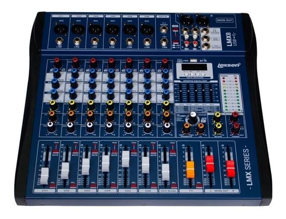 Mesa De Som 8 Canais Interface Lexsen Lmx8 Usb Bluetooth Nf