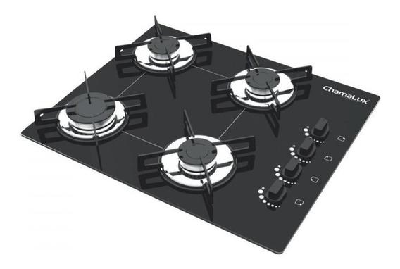 Fogão cooktop a gás Chamalux Luana 4 Bocas preto
