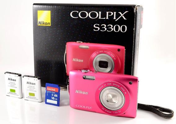 Nikon Coolpix S3300 + 2 Baterias + Sd 16gb - Cor Rosa