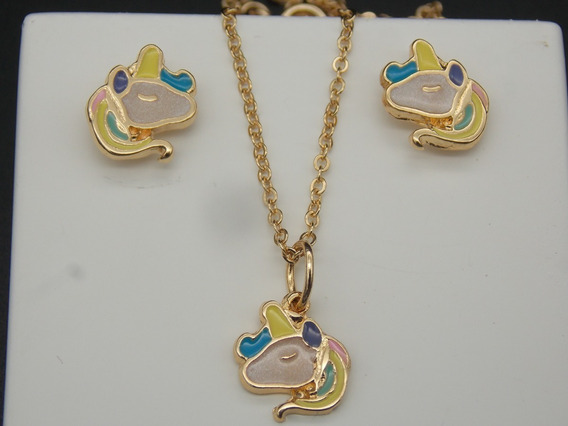 Conjunto Infantil Brinco+colar Unicórnio Banhado À Ouro 18k
