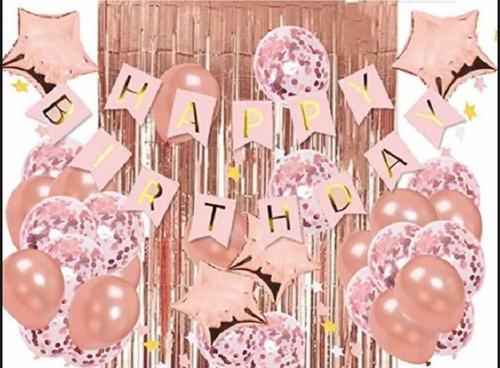 Kit Set Decoración 15 Años Cumpleaños Oro Rosa Bombas Numero
