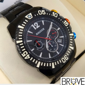Relógio Preto Magnum Masculino Original 2 Anos Garantia + Nf