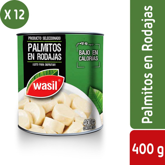 Pack 12 - Wasil Lata De Palmitos En Rodajas 400 G