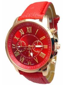 Relógio Luxo Com Pulseira De Couro Vermelho