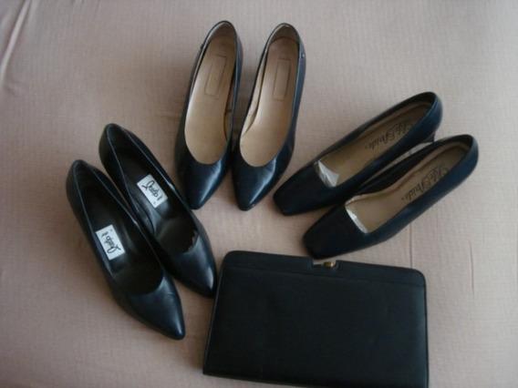 Lote De 3 Pares De Zapatos Azules Y Una Bolsa Precio Total